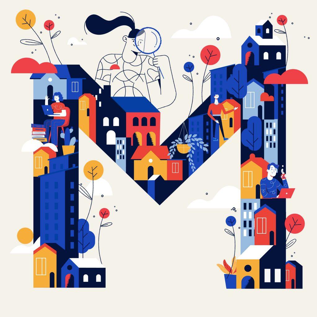 M . lettering . graphic design . procreate . illustration